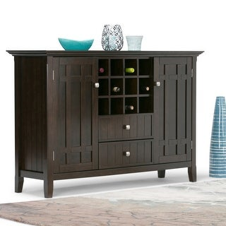 WYNDENHALL Freemont SOLID WOOD 54 inch Wide Rustic Sideboard Buffet Credenza and Winerack - 54 W x 17 D x 36 H