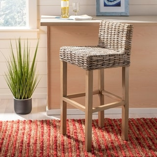 "Safavieh 30-inch St Grey/ Beige Wicker Bar Stool - 17.7"" x 17.7"" x 37.4"""