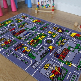 """AllStar Rugs Kids Area Rug. City Map. Urban. Streets with Vibrant Colors (3' 3"""" x 4' 10"""")"""
