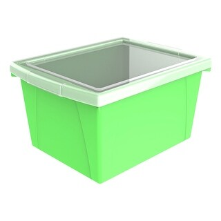 Storex Classroom Storage Bin with Lid, 4 Gallon, 13-5/8 x 11-1/4 x 7-7/8 Inches, Green