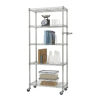 "TRINITY Basics EcoStorage 5-Tier Pantry Rack 24"" x 12"" x 55.5"" w/ Wheels, NSF Certified, Chrome"