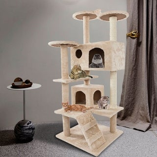"52"" Solid Cute Sisal Rope Plush Cat Climb Tree Cat Tower Beige/Brown"