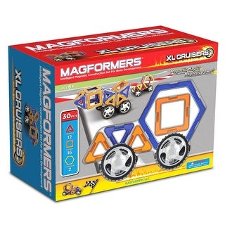 Magformers XL Cruisers 30 Piece Magnetic Car Set Blue & Orange Set - Multi