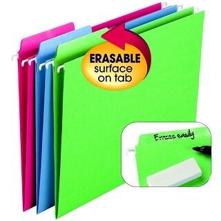Smead FasTab Erasable Hanging Folder, 1/3 Cut, Letter, Assorted Color, Pack of 18