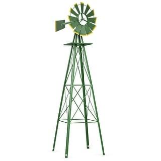 Costway 8Ft Tall Windmill Ornamental Wind Wheel Silver Green And
