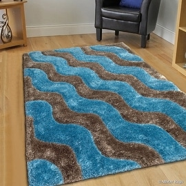 """AllStar Rugs Ice Shaggy Area Rug with 3D Grey Wavy Design. Contemporary Formal Tween Hand Tufted (7' 6"""" x 10' 5"""")"""