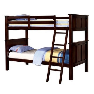 Furniture of America Jace Traditional Walnut Solid Wood Bunk Bed