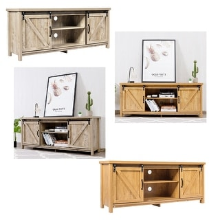 Costway TV Stand Media Center Console Cabinet Sliding Barn Door for