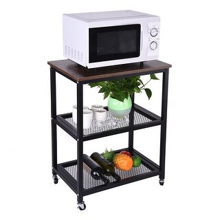 Microwave Rack Kitchen Utility Carts with Metal Frame Storage Brown