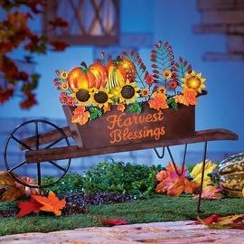 Autumn Harvest Wheelbarrow Yard Stake