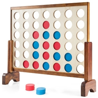 Costway Giant 4 in A Row Game Wood Board Connect Game Toy For Adults Kids w/Carrying bag Natural