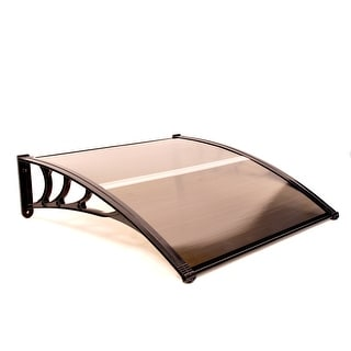 ALEKO Polycarbonate Window Awning Front Door Canopy 40 x 40 Inches Brown