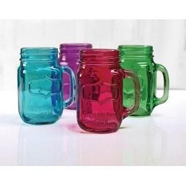 Palais Glassware® Mason Jar Tumbler Mug with Handle - 17.5 Ounces - Set of 4 (Full Colored Aqua/Green/Purple/Fuschia)
