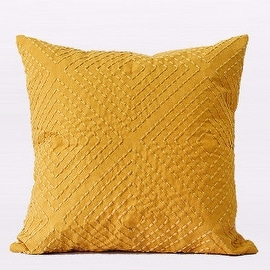 "Gentille Home Collection Luxury Yellow Diamond Embroidered Pillow 18""X18"""