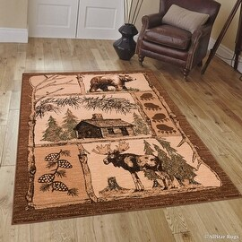 "Brown Cabin with Moose and Bear Animal Wildlife Area Rug (3' 9"" x 5' 1"")"