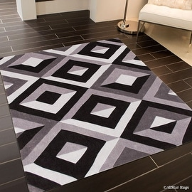 """AllStar Rugs Grey Hand Made Modern. Transitional. design Area Rug with Dimensional hand-carving highlights (7' x 10' 2"""")"""