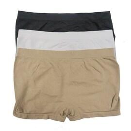 Women 6 Pack Seamless 3 Basic Color Plain Boyshorts Panties