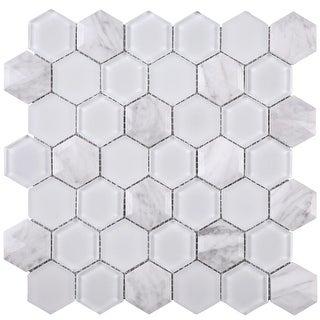 "TileGen. 3D Hexagon 2"" x 2"" Marble Mosaic Tile in White Wall Tile (10 sheets/9.6sqft.)"