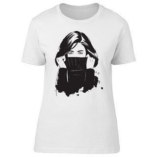 Cute Girl Covering Her Face Tee Women's -Image by Shutterstock
