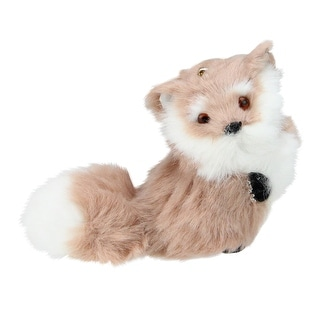 """3.5"""" Brown and White Standing Furry Fox Christmas Ornament"""