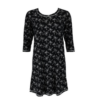 Sweet Women's Scoop Neck Bow Print Sleep Shirt Gown