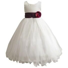 Wedding Easter Flower Girl Dress Wallao Ivory Rattail Satin Tulle (Baby - 14) Plum