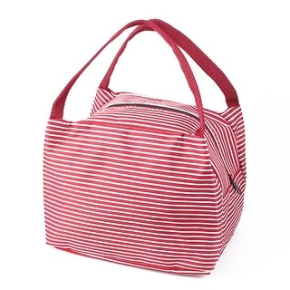 Outdoor Striped Insulated Thermal Cooler Lunch Tote Bag Picnic Container Red