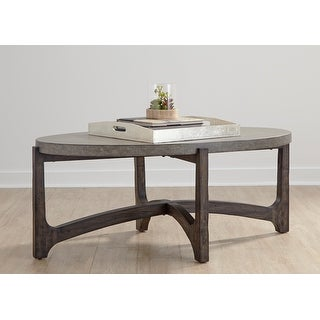 Cascade Wire Brush Rustic Brown Oval Cocktail Table