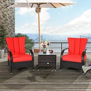 3PCS Rattan Furniture Set Chair Coffee Table Conversation Set W/ Red