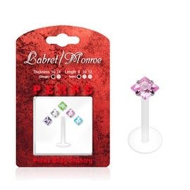 Labret, Monroe, Tragus, and Cartilage - 1 PTFE Shaft and 5 Interchangeable Diamonds 3mm Push-in Gem Tops