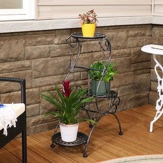"""Sunnydaze 3-Tier Victorian Indoor Outdoor Metal Plant and Flower Stand - 31"""""""