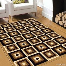 "Allstar Brown / Beige Squares Modern Geometric Area Rug (5' 2"" x 7' 2"")"