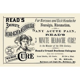 Read'S 3 Minute Head-Ache & Neuralgia Cure by Advertisement Vintage Advertising Art Print