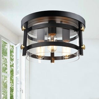 "Teresa Metal and Clear Glass 13"" W 3-light Black Flush Mount"