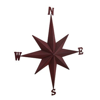 Weathered Finish Compass Rose Decorative Metal Wall Hanging