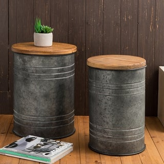 "Glitzhome 19""H Farmhouse Rustic Galvanized Enameled Metal Storage Stool Set of 2"