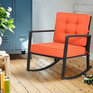 Costway Patio Rattan Rocker Chair Outdoor Glider Wicker Rocking Chair
