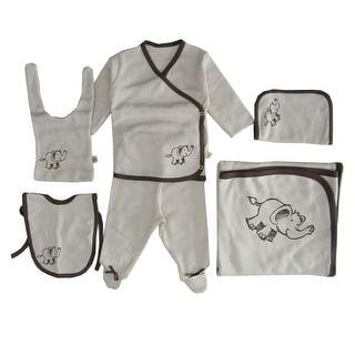 Baby Boys Bone White Brown Edge Elephant Organic Cotton 6 Pc Layette Set - One Size