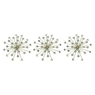 Jeweled Metal Bursting Star Wall Mounted Hanging Sculpture Set of 3 Burst