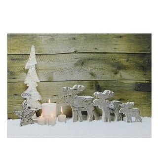 """LED Lighted Country Rustic Reindeer and Candles Christmas Canvas Wall Art 12"""" x 15.75"""""""