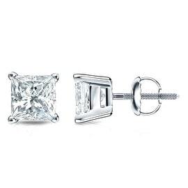 14K White Gold Princess Cut Diamond Stud Earrings 4 Prong 0.21cttw Diamonds Screw Back