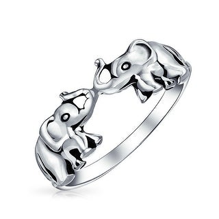 Good Luck Zoo Animal Two Elephants Ring Oxidized 925 Sterling Silver