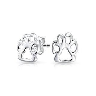 Dog Cat Puppy Kitten Paw Print Pet Paw Stud Earrings Sterling Silver