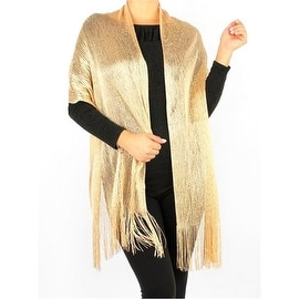 Modern Metallic Fishnet Party Shawl Fringe Lurex Scarf