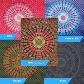 Handmade Sanganer Mandala Peacock 100% Cotton Tapestry Tablecloth Bedspread in Red Blue & Green colors in Twin & Full sizes