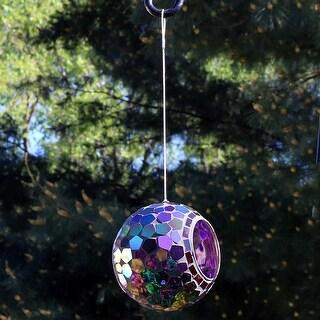 """Sunnydaze Hanging Bird Feeder Outdoor Round Glass Mosaic Design for Garden - 6"""""""