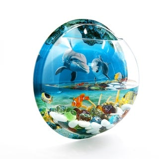 Wall Mounted Acrylic Fishbowl Betta Hanging Tank 1.23 Gallon - Blue, Clear