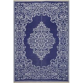 Lightweight Indoor Outdoor Reversible Plastic Area Rug - Medallion Oriental Design - Blue/White
