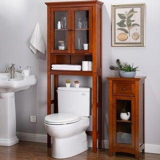 Glitzhome Drop Door Bathroom Spacesaver Floor Storage Cabinet