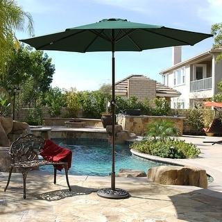 BELLEZE 9Ft Tilt Umbrella Crank to Open Patio Lawn, Dark Green